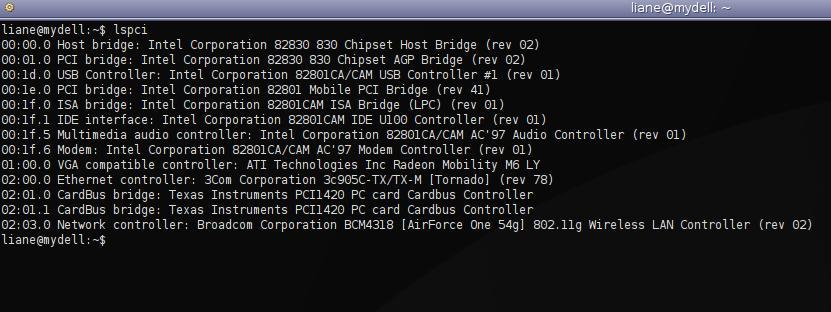 PCI Geräte-listing